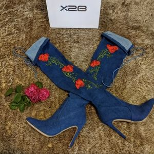 Rose embroidered denim boots. OTK. NIB. 7